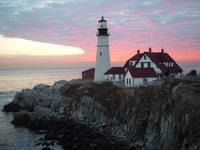 Sunrise at Portland Headlight Lighthouse in Maine