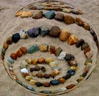 sphere of spiraled stones