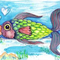 Love Fish 2 Art Prints & Posters by Rachel Chapman