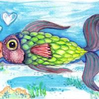 Love Fish 2 Art Prints & Posters by Rachel Chapman