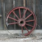 """Rustic Red Wagon Wheel"" by quietwhispers"
