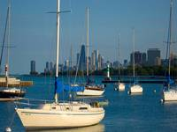Boats in the harbor with Chicago skyline behind it