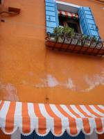 Orange awning, blue shudders