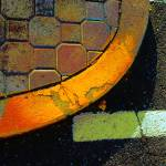"""curb: round yellow with pavers"" by eyecontact"