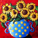 """Sunflowers in Blue Polka Dots"" by reniebritenbucher"