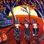 """Three Witches with Haunted House"" by reniebritenbucher"