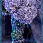 """Blue Hydrangeas in Japanese Vase"" by KMAnderson"