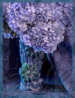 Blue Hydrangeas in Japanese Vase
