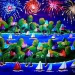 """Fourth Of July Fireworks Fun Folk Art"" by reniebritenbucher"