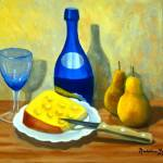 """BLUE BOTTLE WITH PEARS & CHEESE"" by madelinesstudio"