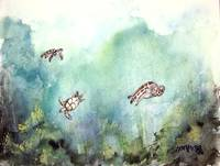 3 sea turtles painting