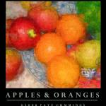 """Apples & Oranges (on Black)"" by artistfaye"