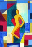 Figurative Lady in Waiting - Arcylic on Canvas