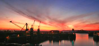 Sunset over St Helier Harbour Jersey CI