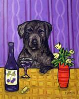 Black Labrador Retriever at the Wine Bar