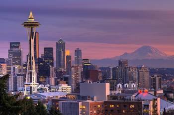Seattle Space Needle Mt Rainier By Jim Clark