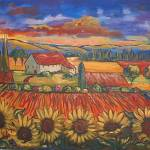 """Fauve Landscape With Sunflowers"" by theartlady"