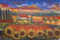 Fauve Landscape With Sunflowers