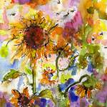 """Sunflowers and Bees"" by GinetteCallaway"