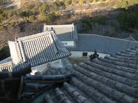 view of roof at himeji castle top floor