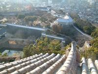 view from top floor of himeji castle