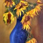 """Sunflowers in Blue Vase"" by KFCollection"