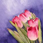 """Tulips in the Wind Watercolor"" by marygaines"
