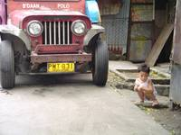 little boy and jeep, manila, philippines