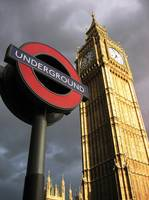 Two landmarks - Big Ben and the tube, London, Grea