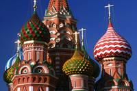Technocolor domes of St Basils cathedral, Moscow,