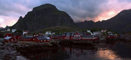 Evening atmosphere over A in Lofoten, Norway