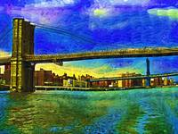 Brooklyn and Williamsburg Bridges Fauvist DSC02421