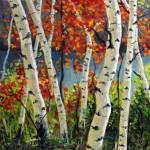 """Birch and Maple Trees"" by TakeyceArt"