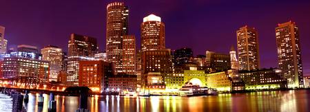 Boston Panoramic City View at Night