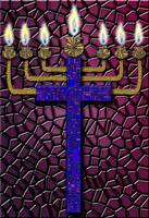 Burgundy Menorah Cross