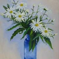 Daisies in Cobalt Art Prints & Posters by Helen Read
