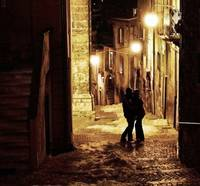 A kiss in a silent and cold night
