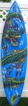 Dragon Surf Board Freehand Original Airbrush Art
