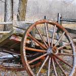 """Light Snow on Old Broken Down Cart"" by snarkphoto"