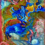 """Abstract--Pink Rays and a Blue Book"" by Lenora"