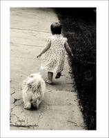 .   walking with her pup   .