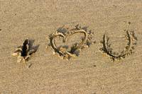 i love you in sand Devon England March 06 070