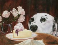 Temptation- dog eyeing cheesecake by Violano