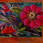 """Red Flower, Shapes, and Rust"" by Lenora"