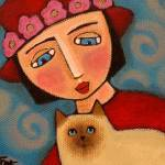 """Red Hat Society Lady & Siamese Kitty"" by MANICATTACKART"