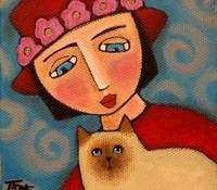 Red Hat Society Lady & Siamese Kitty
