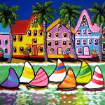 """Tropical Houses and Sailboats"" by reniebritenbucher"