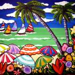 """Tropical Beach Umbrellas"" by reniebritenbucher"