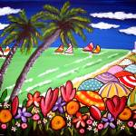 """Beach Umbrellas and Flowers"" by reniebritenbucher"