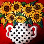 """Sunflowers With Black and White Polka Dots"" by reniebritenbucher"